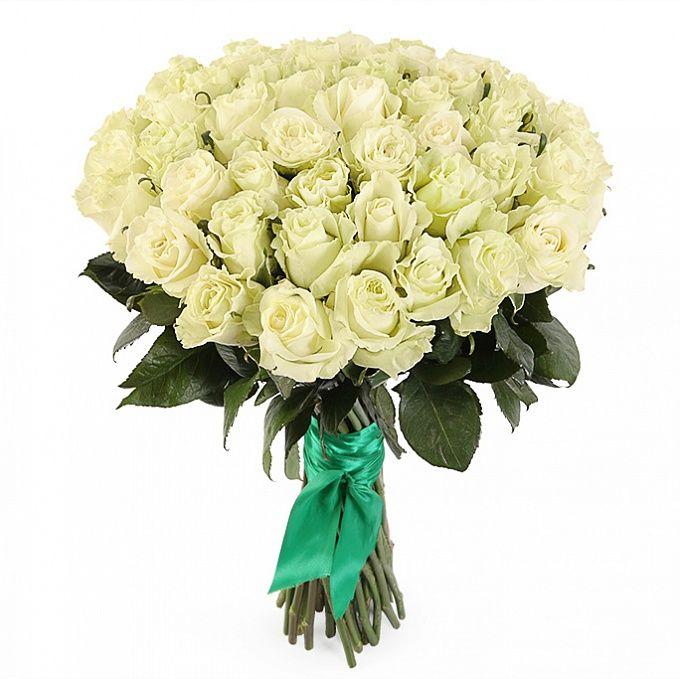 Букет из 51 белой розы премиум